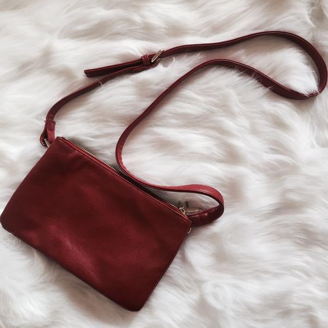 F21 red side bag