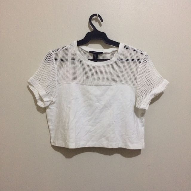 Forever 21 White  Fish Net Crop Top
