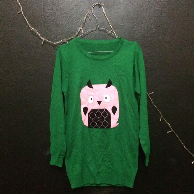 Green Owl Sweater