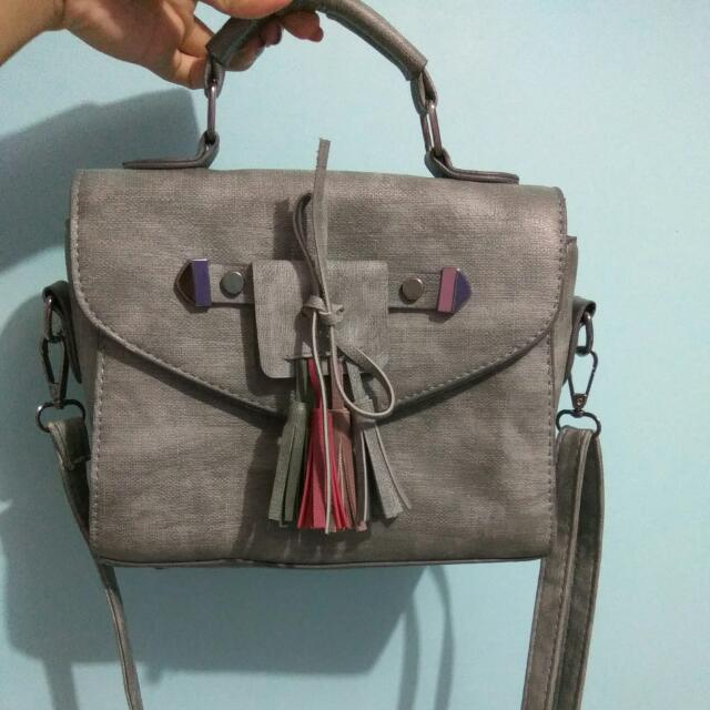 Grey Ribbon Sling Bag
