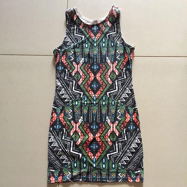 Halter Aztec-printed Dress