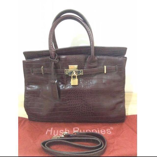 Hush Puppies Leather Bag Brown Redish
