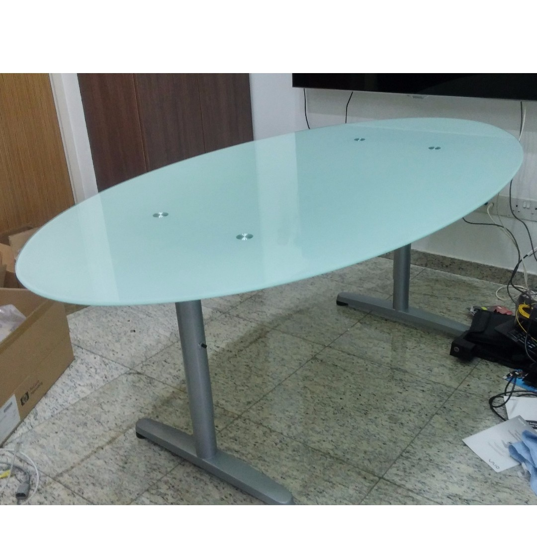 Ikea Office Table Galant Frame Glass Oval Top Furniture