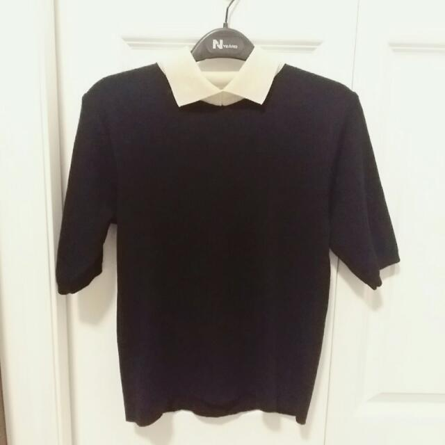 Ivory Collared Black Top (S)