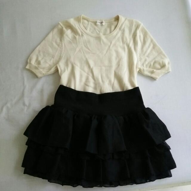 Japan Black Layered Skirt & Knitted Shirt