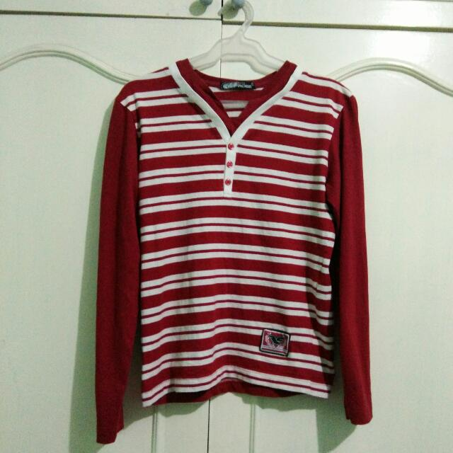 LE FROGE Red-Striped Long Sleeved Shirt