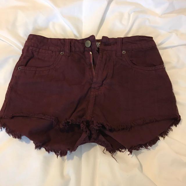 Maroon High Waited Denim Shorts