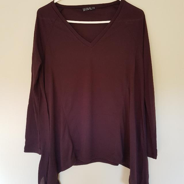 Maroon Long Sleeve Top (3 For $12)