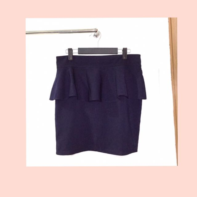 Navy Blue Peplum Skirt