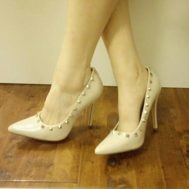 Nude Studed Stiletto Heels (Rockstud)