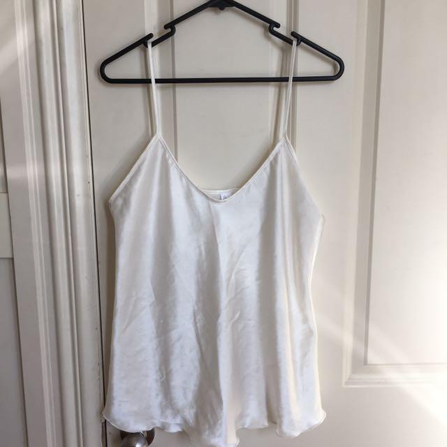 Off White Silk Singlet Top