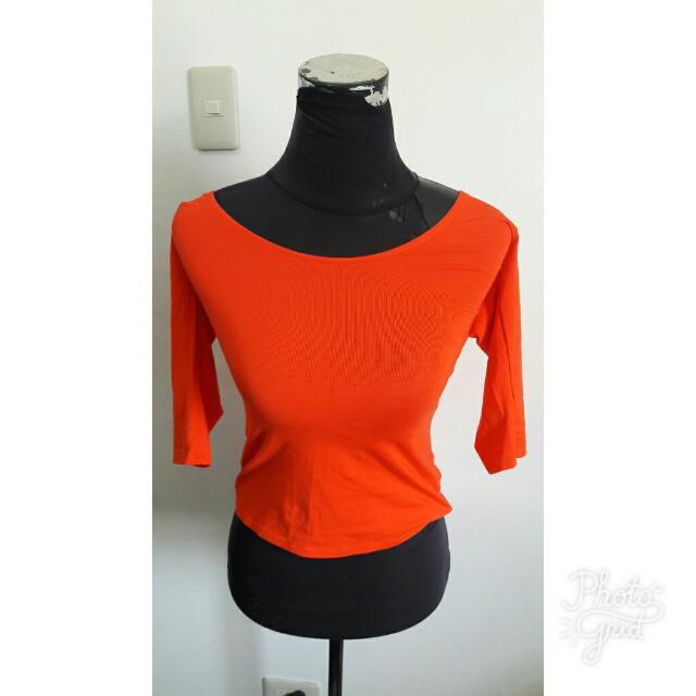 orange plain shirt