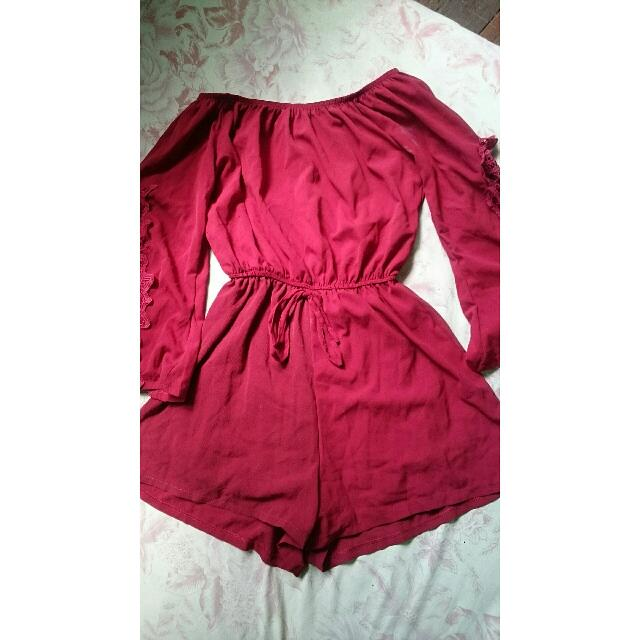 REPRICE!! Only For 200! Red Off Shoulder Romper