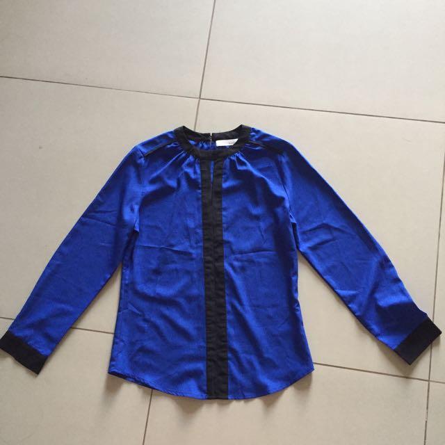 Royal Blue Mandarin-Collared Blouse