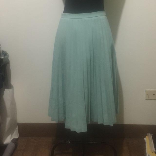 Sky Blue Electric Pleats Skirt