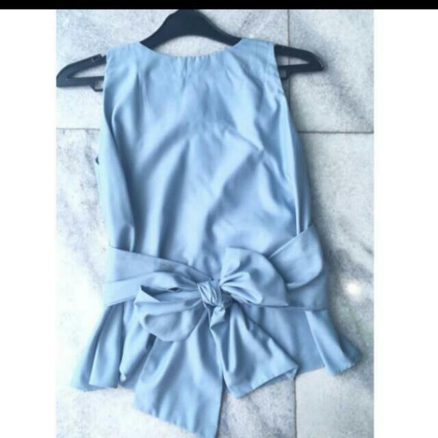 Sleeveless Bow Top Biru (Atasan Kutungan Ikat Biru )