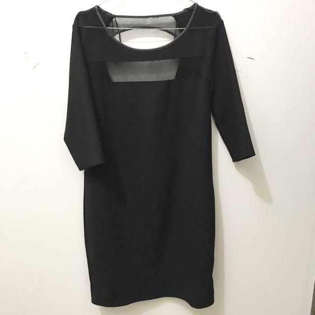 stradivarius black dress with lowback cut