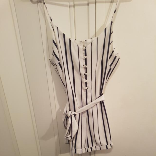 White And Navy Striped Playsuit