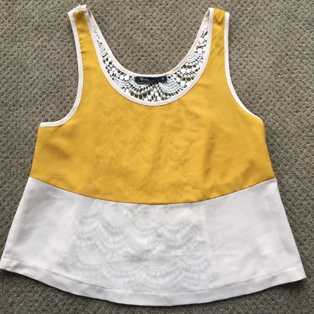 White And Yellow Stripe Singlet With Crotchet Back