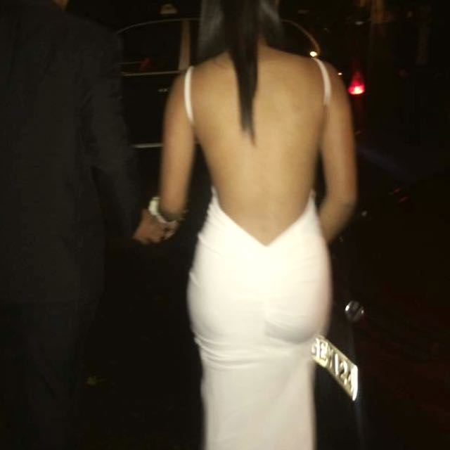 White Backless Trailed Ball Gown