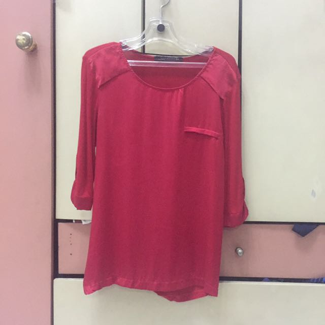 Zara red blouse