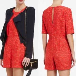 BCBG Lace Romper in Red Orange
