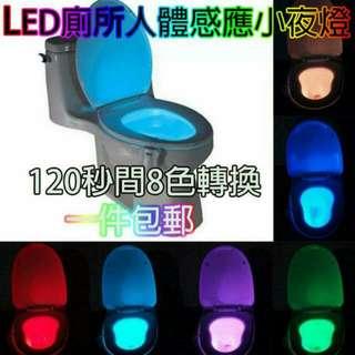 全新*廁所8色LED人體感應小夜燈  (不包電)Auto Detect Toliet 8 Color LED Night Light (買兩件$90)