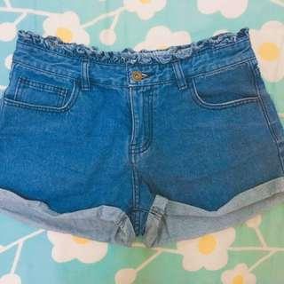 高腰短褲 花邊 牛仔短褲 寬管 闊腿褲