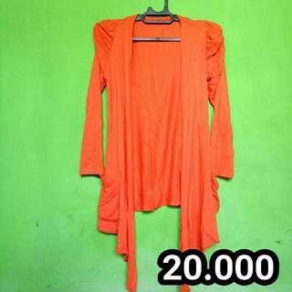 Cardigan Orange Panjang