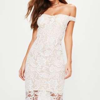 White Lace Bardot Midi Dress