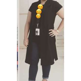 Black Long Vest / Rompi Like New / Baju / Kemeja / Celana / Sepatu #ClearanceSale