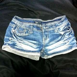 Faded Cross Jean Shorts