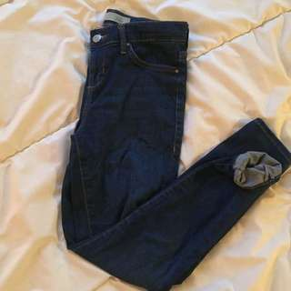 TOPSHOP Leigh High Waisted Blue Jeans