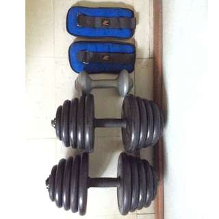 2pcs 60pounds rubber dumbells, sand ankle weights, small 1.5kilos dumbell