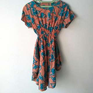 Sale Dress Batik Krem Kombinasi Biru Size XL