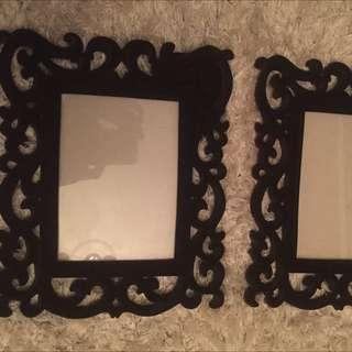 """2 Picture Frames! Black velvet 5""""7"""