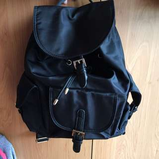 Korean Backpack With Leather Trimmings