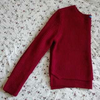 Soft dark red knitted sweater jumper
