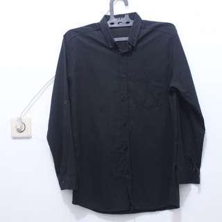 Oxford Black-Black Button Down Long Shirt