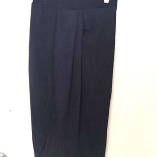 Navy Wrap Front Midi Skirt