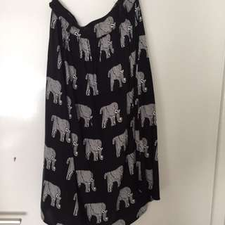 Elephant Pattern Midi Skirt