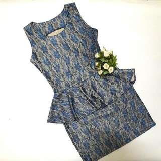 [⚠DIJUAL MURAH⚠]💙Embroidery Peplum Blue Dress💙