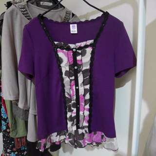 <私物>伊蕾 紫色花花下擺波浪針織上衣 #爸爸節八折