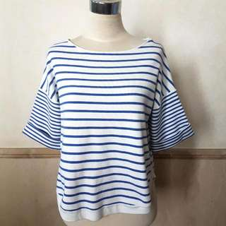 Authentic ZARA Knit White And Blue Striped Top Blouse Size M - Like New