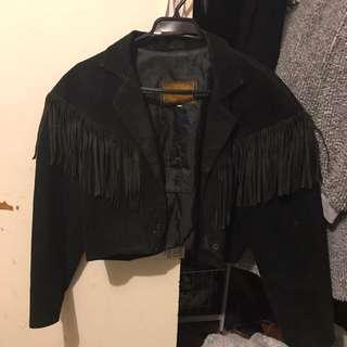 Cropped Suede Fringe Jacket (sz 10)