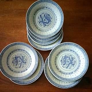 8pcs Rice Grain Dragon Porcelain Plates70年代青花米粒透光瓷碟
