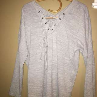 Low V-Neck Long Sleeve