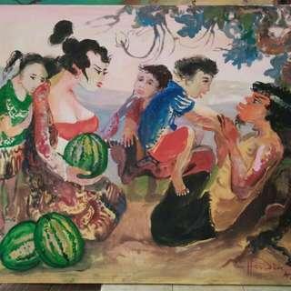 Dijual Borong Lukisan Hendra Gunawan 5pcs