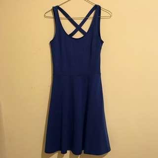 H&M Blue Cross Back Dress XS