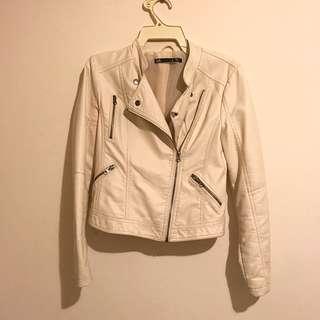 DOTTI Cream Faux Leather Jacket Size 8